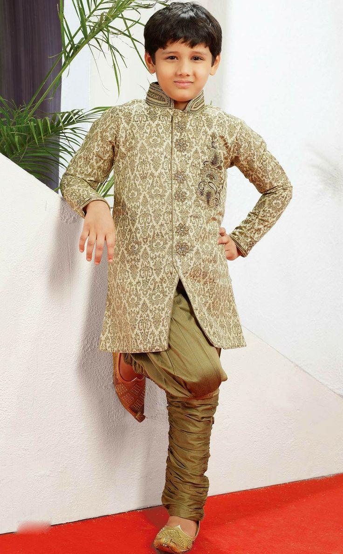 Buy online Boys wedding sherwani with breeches . Buy at - http://www.gravity-fashion.com/15879-boys-wedding-sherwani-with-breeches.html