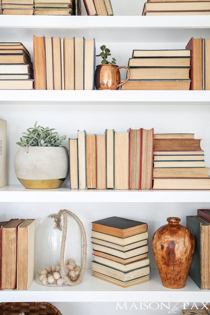 Bookshelf Styling Tips: Tips for styling any bookshelves no matter what you have on hand!