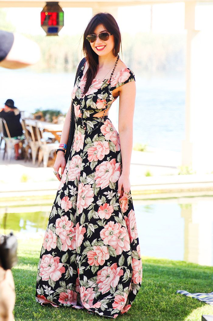 Daisy Lowe in a floral print maxi dress // Coachella 2015