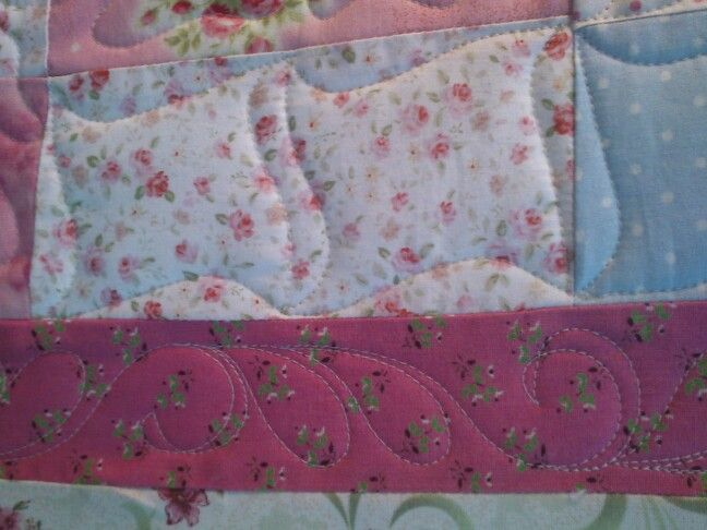 Custom quilting a Red Brolly Quilt. Gingham girls