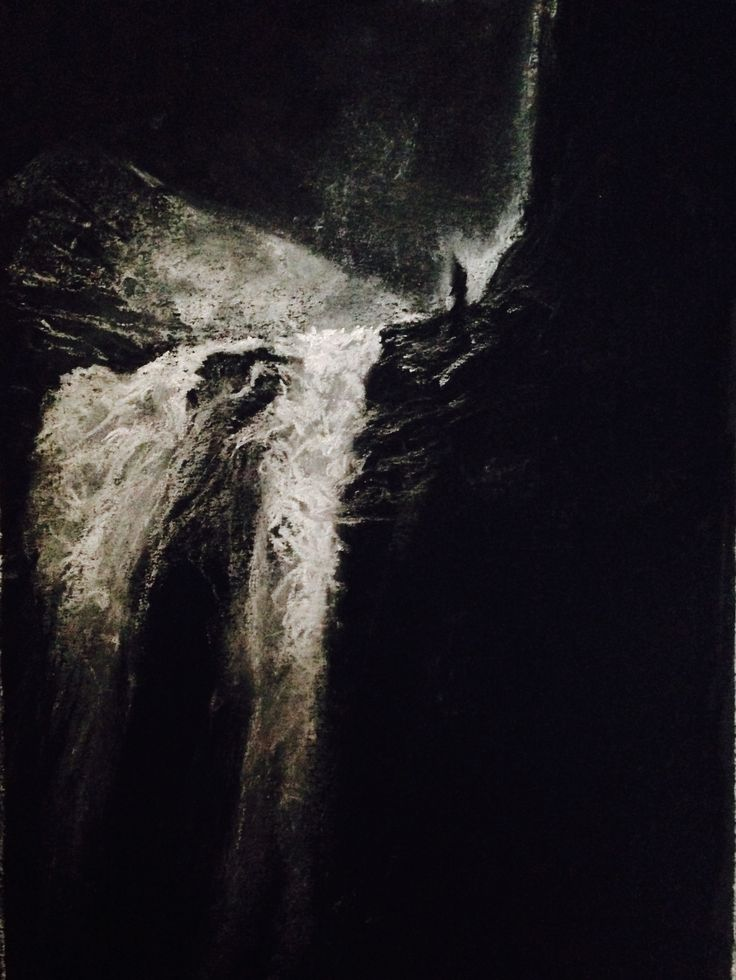 Waterfall by (photographer unknown?) in chalk pastel on black paper. By Steve Hurt