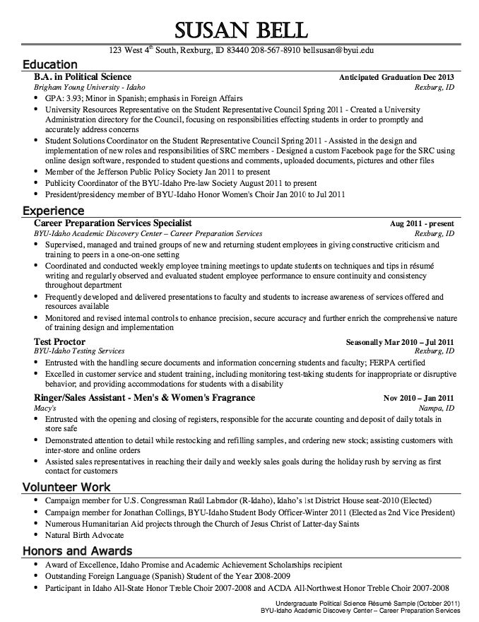 Political Science Resume Sample Resumesdesign Com  Resume Examples Byu