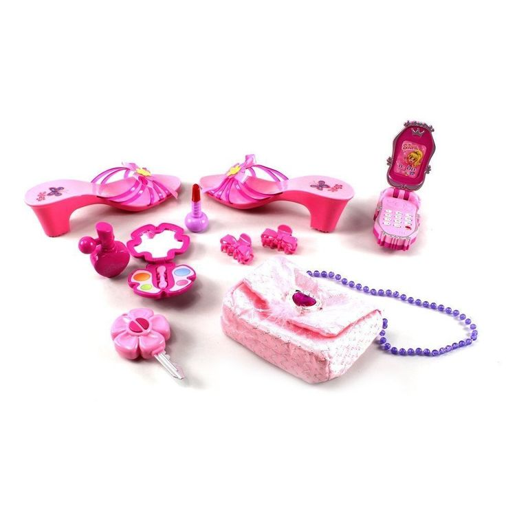 The Princess Susy Toy Fashion Beauty Set comes with a pair of shoes, a shoulder bag, a mirror, hair clips, a mock cell phone, lipstick and perfume. Your little one will feel like a princess with this
