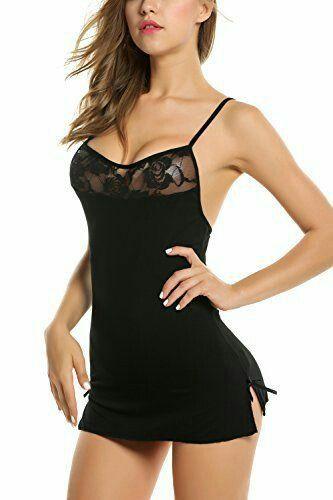 Sleepwear black laces strips suit - women nighty
