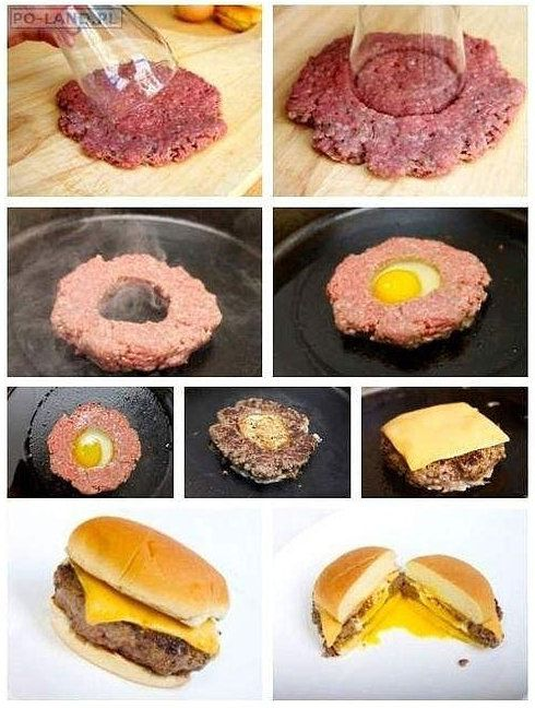 Egg BurgerDiet Food, Eggs Burgers, Fries Eggs, Breakfast Sandwiches, Yummy, Cool Ideas, Cheeseburgers Recipe, No Breads, Hamburgers