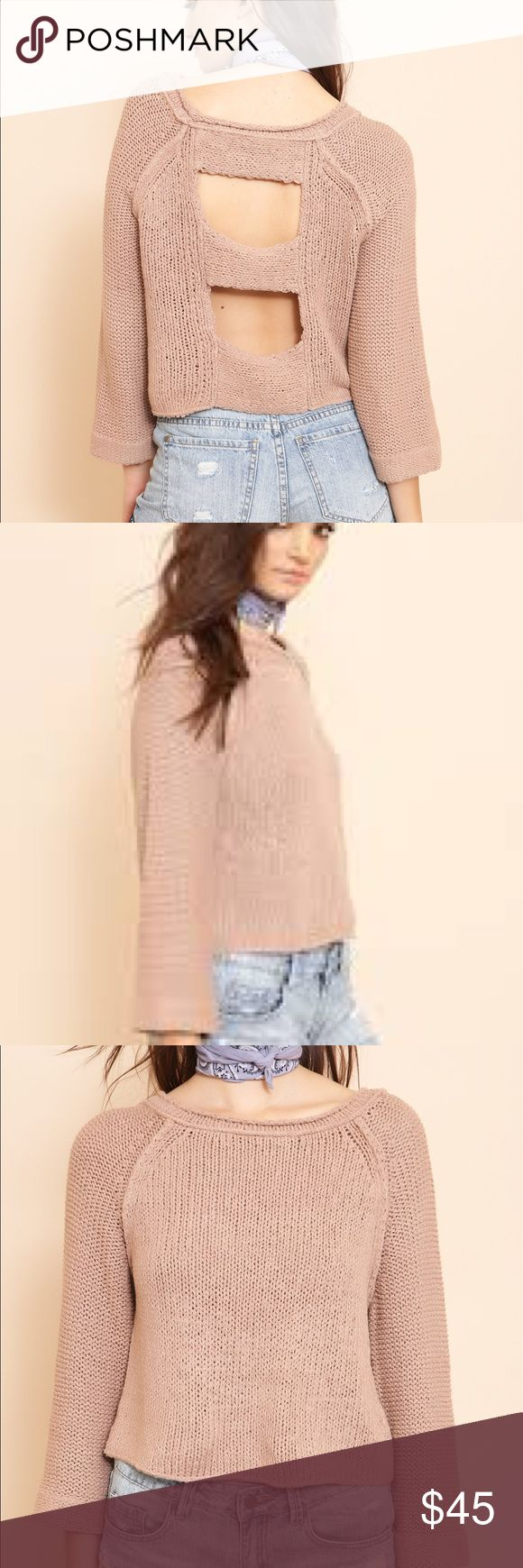 """NWT Endless Stories Pullover Boxy cropped knit sweater.Back cut outs. Unlined. Style #: OB494593 Material: Cotton/Nylon Color: """"Toasted Almond"""" (Nude) Model is wearing an x-small Free People Sweaters Crew & Scoop Necks"""