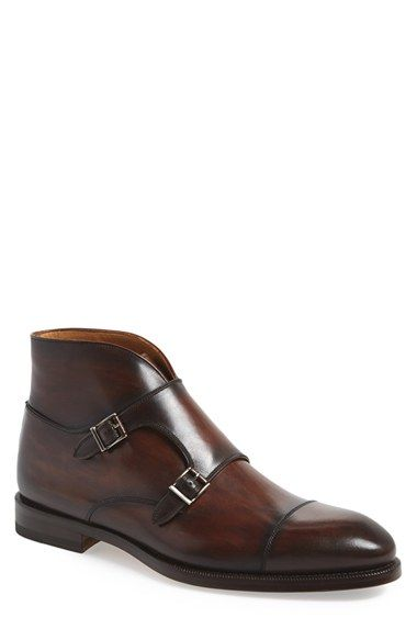 Free shipping and returns on Magnanni 'Vadal' Double Monk Strap Boot (Men) at Nordstrom.com. A handsome patina, cap toe and classic double monk strap define this sleek leather ankle boot.