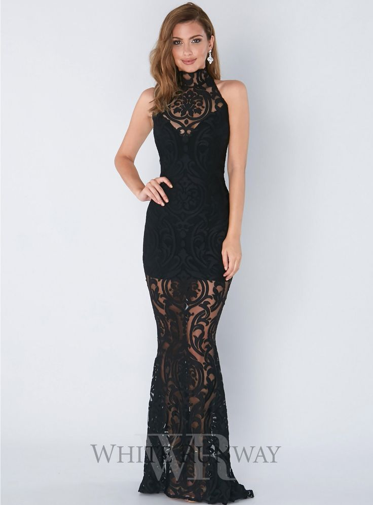 Fantasy Halter Gown. A gorgeous full length dress by Nookie. An incredible high neck gown with lace overlay and a soft mermaid hem.