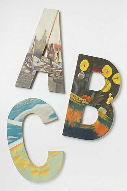 Knock off still life monogram letters from Anthropologie...buy an old art book from a thrift store, and clip happily!
