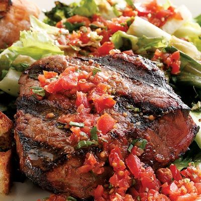 Healthy Steak Recipes - Grilled Beef Tenderloin and Escarole