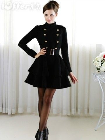 WOMEN DOUBLE BREASTED GOLDEN BUTTON PLEATED TRENCH COAT