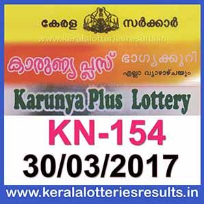 Kerala Lottery Result : 30-03-2017 KARUNYA-PLUS Lottery Result KN-154 ~ LIVE :Kerala Lottery Result 30.3.2017 KARUNYA-PLUS Lottery KN-154