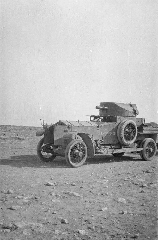 """today-in-wwi: """" """"One of the Duke's armored cars, pictured in April 1916. """" March 17 1916, Bir Hakeim–The Senussi presence along the Egyptian coastline had largely been shattered at Agagiya last month,..."""