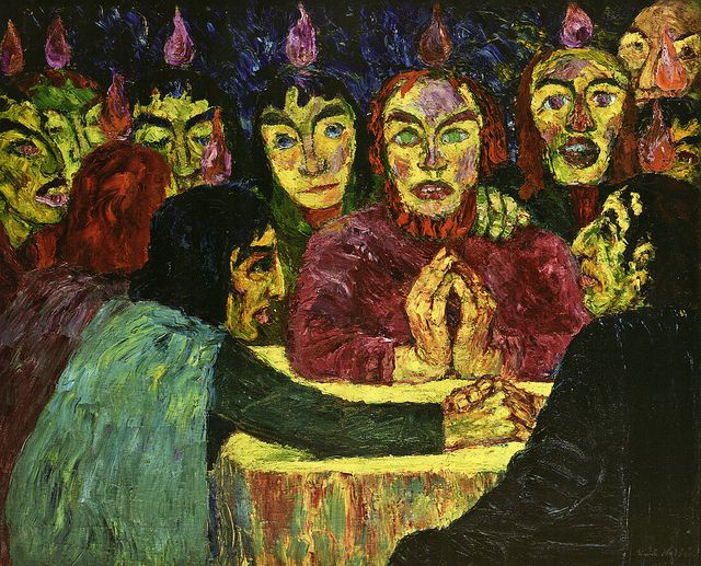 Emil Nolde - Pfingsten (Pentacost) (1909). This painting was banned by the Nazi regime and exhibited at the Degenerate art exhibition in Munich in 1937.