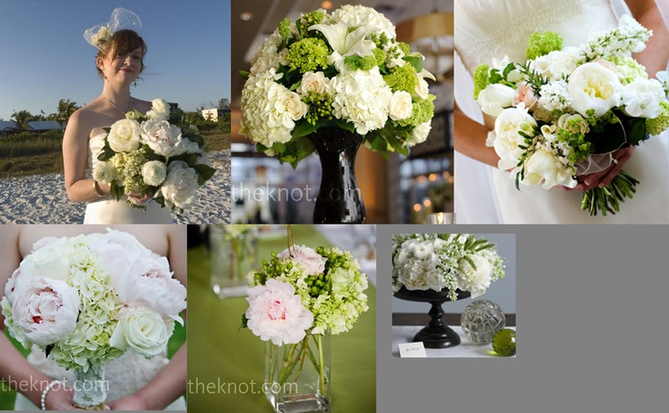 Classic wedding flowers: cream, spring green, dark green, a little light pink, and dark brown/black containers.: Clean, 600370 Pixel, Inspiration Ideas, Flowers Boquet, Wedding Flowers, Flowers Ideas