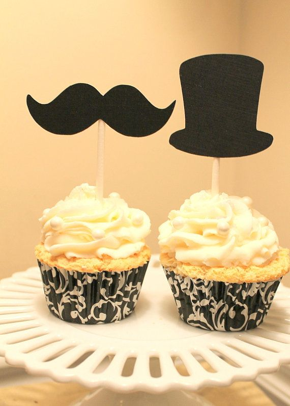 12 Top Hat or Mustache Cupcake topper by SWEETSINCLAIRS on Etsy, $4.50