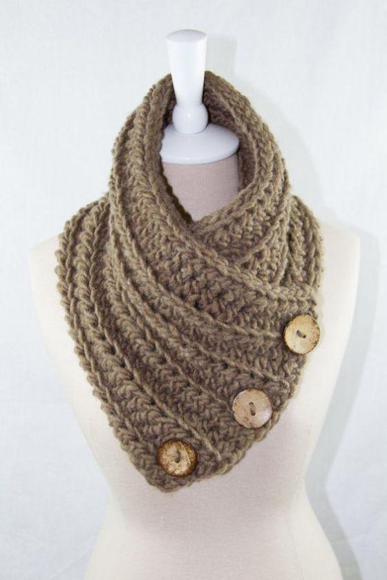 Crochet Button Scarf / Cowl / Neck Warmer by ElsieRaeBoutique: