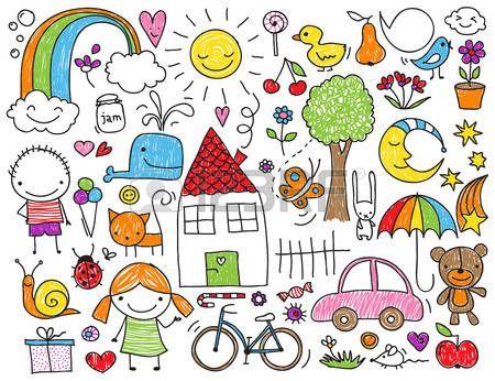 sol y nubes dibujo: Colección de dibujos de los niños, los animales, la naturaleza, los objetos de los niños lindos Vectores