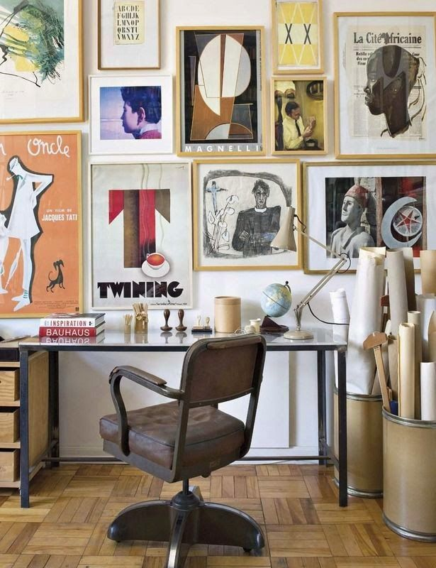home office artwork. simple artwork tour an elle decoration editoru0027s artfilled home office  gallery wall  leather chair offices workspaces for artwork d