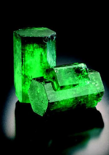Emerald- (Beyrl)-   composed of beryllium aluminium cyclosilicate with the chemical formula Be3Al2(SiO3)6...colored green by trace amounts of chromium and sometimes vanadium,  hardness of 7.5–8, Crystal system Hexagonal