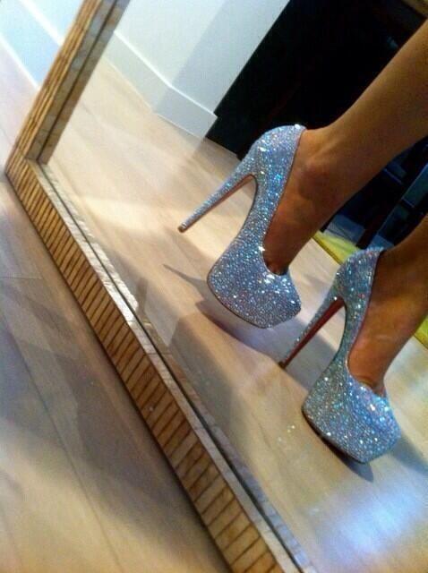 Silver rhinestoned heels / glitter / club heels / club wear / summer fashion / 2014