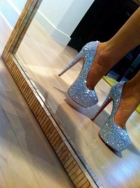 Silver rhinestoned heels / glitter / club heels / club wear / summer fashion / 2014