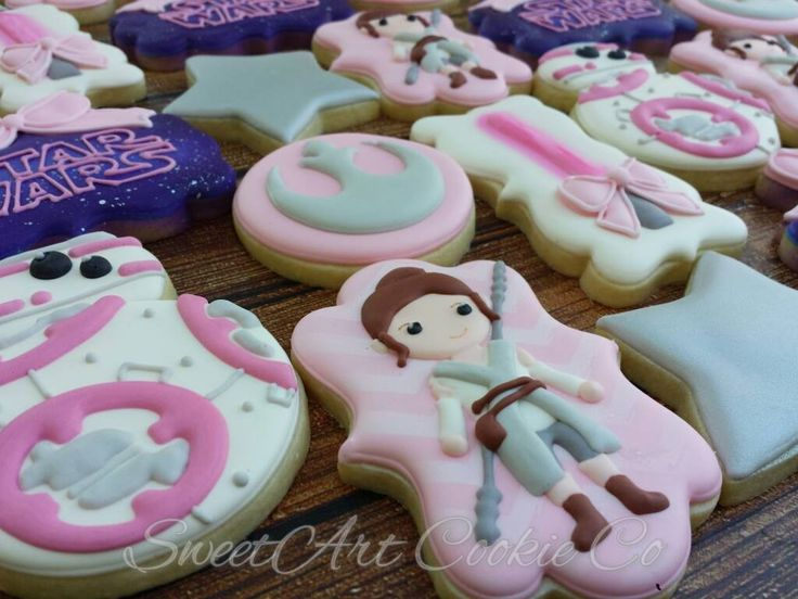 Star Wars Rey And BB-8 Girls Birthday Party Sugar Cookies TheIcedSugarCookie.com Sweet Art Cookie Co