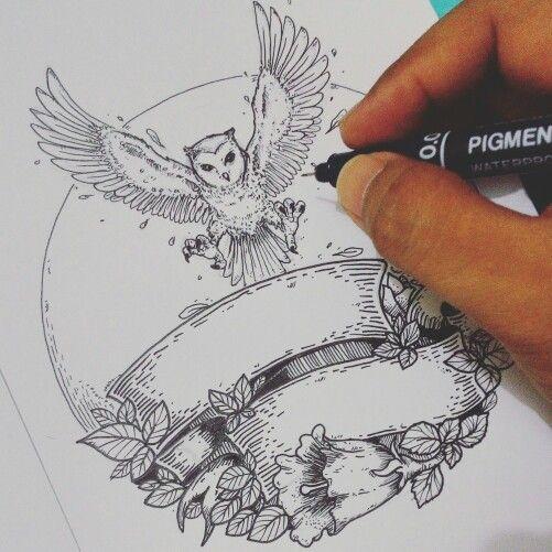 owl on sketch by Artnindo