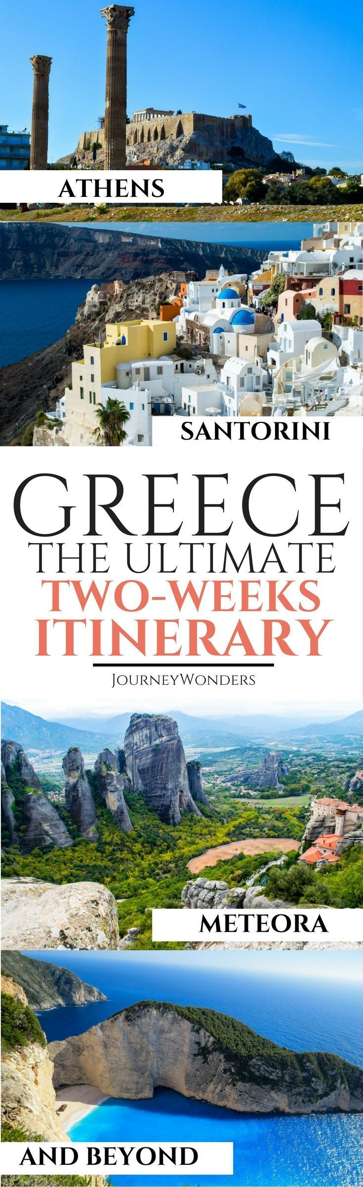 Greece Travel Inspiration - Planning a trip to Greece but don't know where to start? Check out this Two Week Greece Itinerary and enjoy the wonders of this awesome country! Greece Itinerary | Things to do in Greece | Athens Greece| Meteora Greece | Santorini Greece #Athens #Greece #Meteora #Santorini via @journeywonders