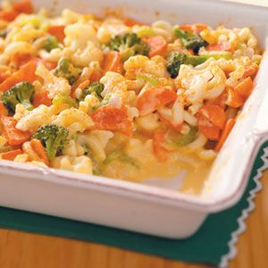"Veggie Macaroni and Cheese Recipe -This creamy, filling mac & cheese definitely doesn't come from a box! Fresh veggies add crunch and color and will leave everyone saying, ""More, please!"" —Marsha Morrill, Brownsville, Oregon"