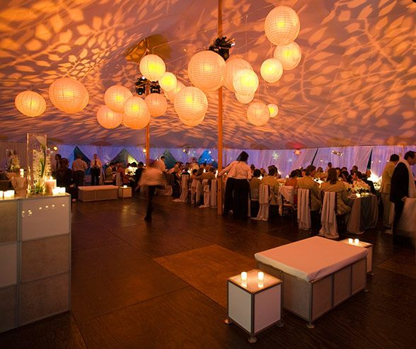 Beautiful tented wedding lighting