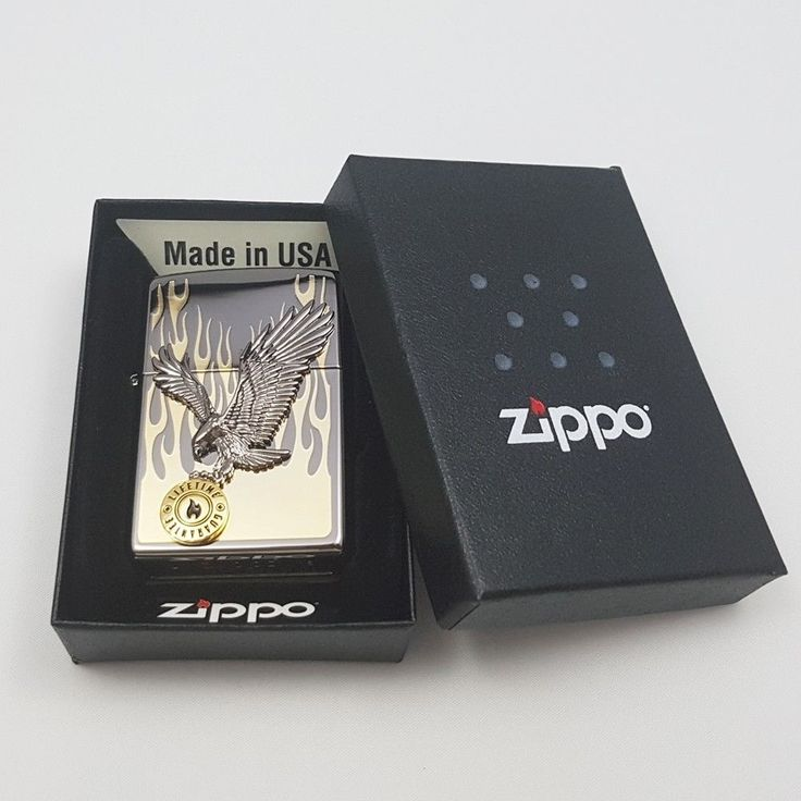 Zippo Original Lighter in to the Flame Gold Authentic Windproof USA Gift 6Flints #Zippo