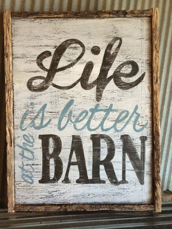 Barnwood framed distressed sign Life is better by REFINDdesigngals