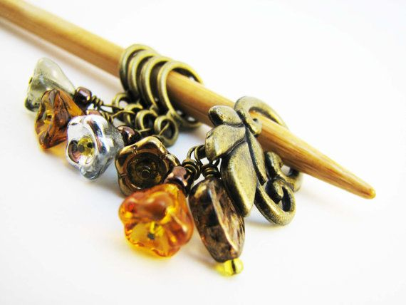 November Flowers NonSnag Stitch Markers by winemakerssister, $11.50