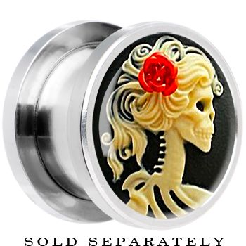 0 Gauge Steel Red Rose Skeleton Cameo Screw Fit Plug $9.99 #skull #bodycandy #plugs #stretchedlobes