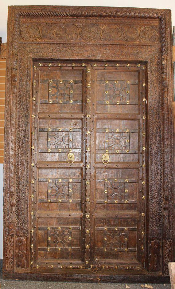 Blog Teak Wood Main Door Design In India: Antique Huge Indian Carved CHAKRA FISH PEACOCK Door Teak