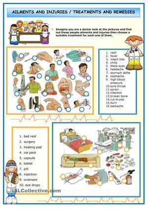 Vocabulary for illnesses and ailments that is a big of help for beginners and even the intermediate. - ESL worksheets