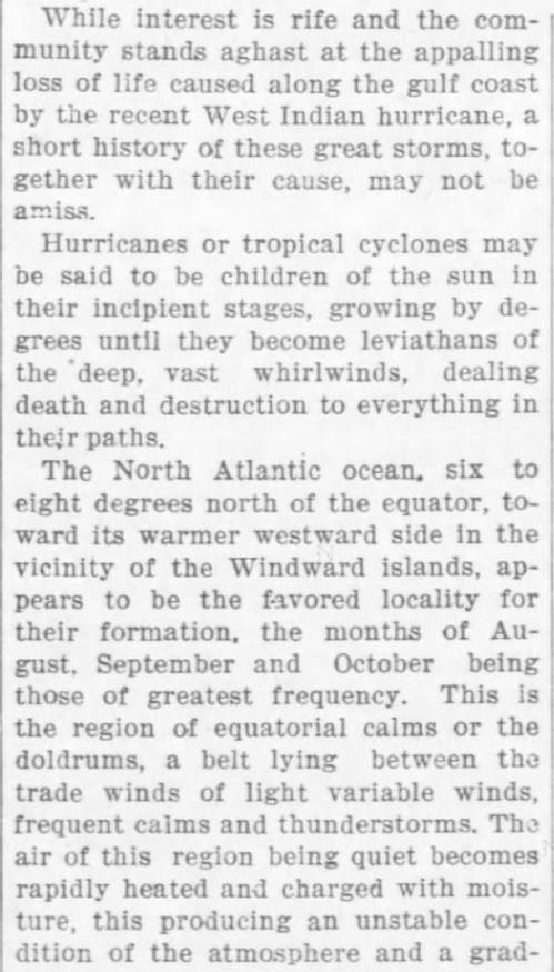 Cause of Hurricanes, Part 1 of 3. The Weekly Star and Kansan of Independence, Kansas, on September 21, 1900  | Great Hurricane, Galveston, TX (September 8, 1900) | KristinHolt.com