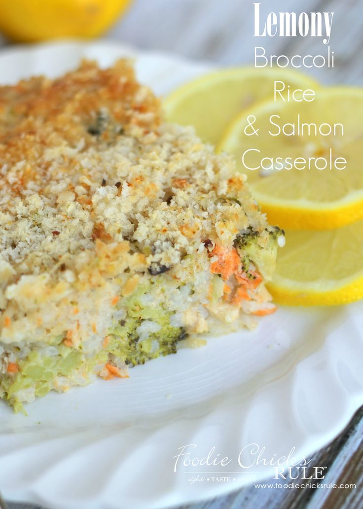 One bowl and one baking dish is all you need to make this delicious quick and easy Lemony Broccoli Rice Casserole w/Salmon!!