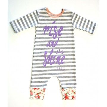 Rags to Raches Rise & Shine 3/4 Sleeve Romper - Grey/White/Pink -This stylin' Rags to Raches romper makes a quick and easy outfit for any little girl. BabyCubby.com