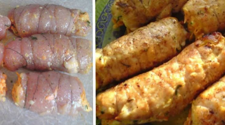 Рулетики «Боярские» из куриной грудки. Нежнейшее мясо с ароматной и вкусной начинкой!