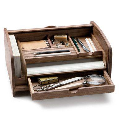 Schreibtisch Sekretär Nussbaumholz Wooden Desk Organizertoolbox