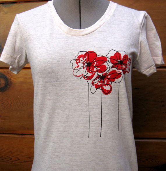 Amapolas T camisa mujeres avena tallas por XLarge