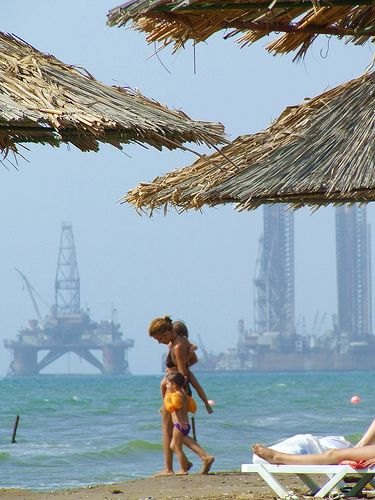 oil rigs at the beach, Caspian Sea, Baku, Azerbaijan
