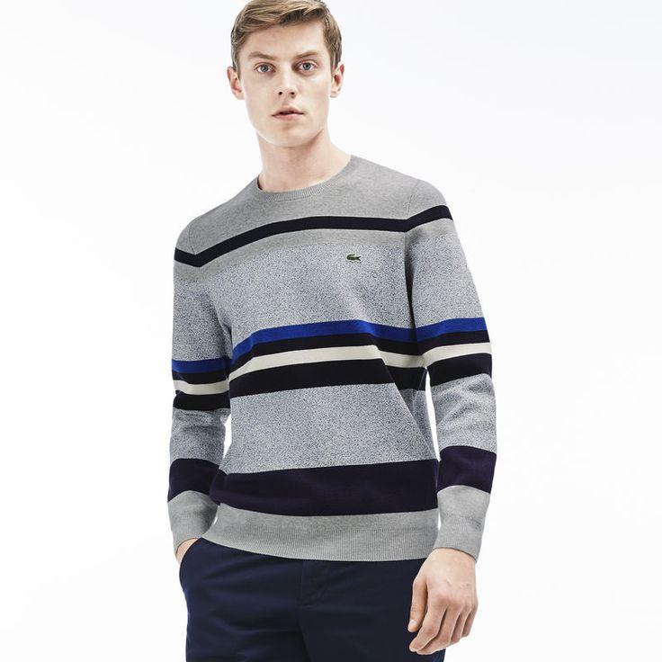 Herren-Rundhals-Sweatshirt mit Colorblock-Streifen