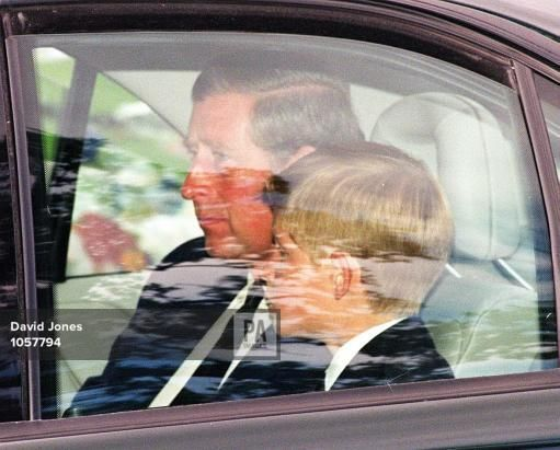 The Prince of Wales and his son Prince Harry arrive at the Althorp House this afternoon (Saturday) for the burial of Diana, Princess of Wales