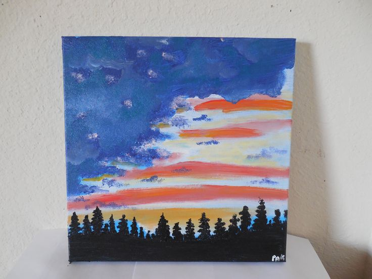 Patriotic sunset 11 x 14 original acrylic painting on for How paint on canvas