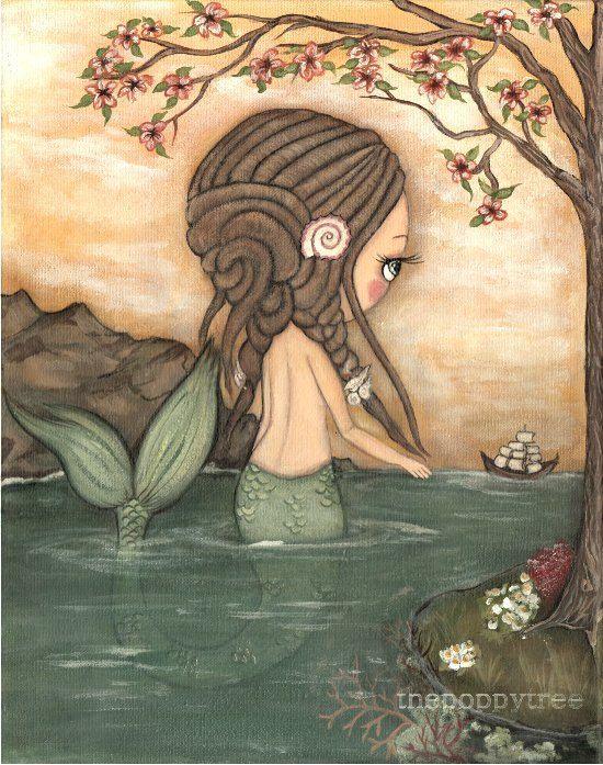 Cerradura Art Print náutica Dread sirena chica barco vela árbol pared arte