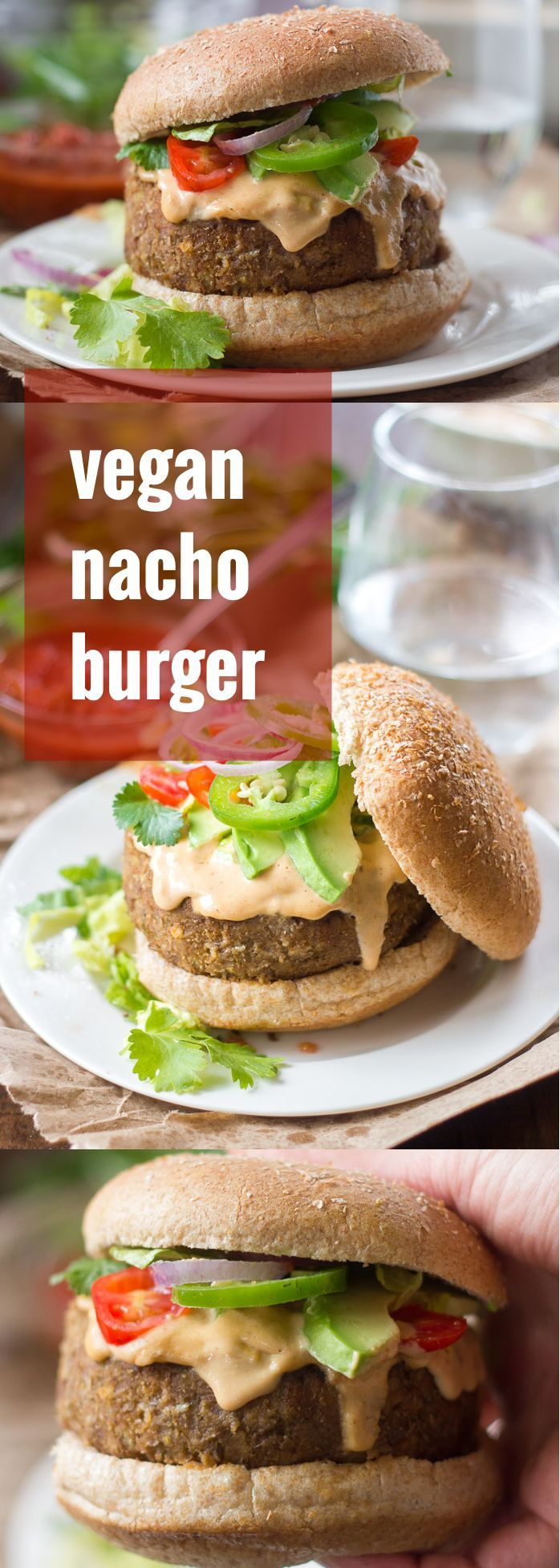 These spicy vegan nacho burgers are made with lentil patties topped with creamy tahini nacho cheese and piled high with your favorite nacho toppings.