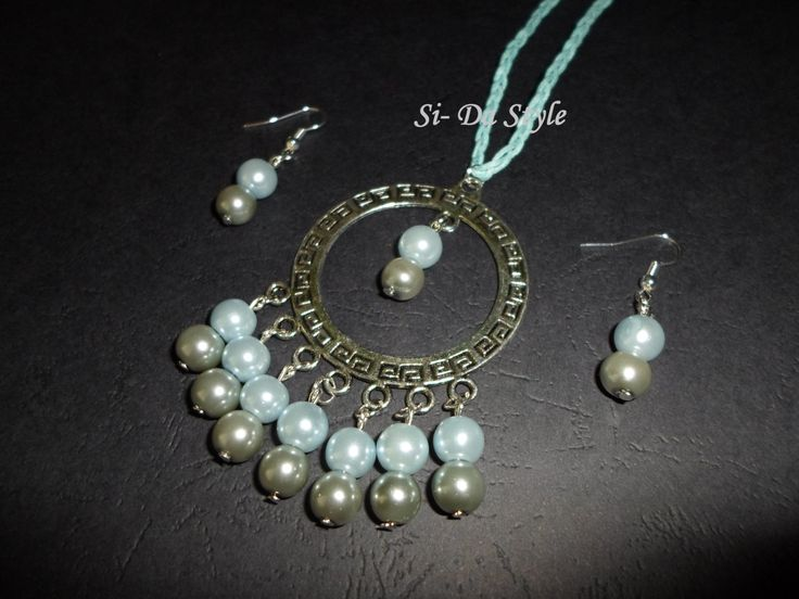 Greek style necklace and earrings with high quality czech beads. by SiDaStyle on Etsy